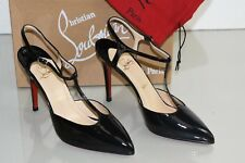 NEW Christian Louboutin COXINELLE Patent Leather Black T Bar Pumps Shoes 39.5