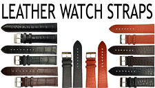 Watch Strap Mens 100% Leather Band 18mm 20mm 22mm 24mm 26mm Steel Buckle New