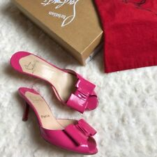 NEW Christian Louboutin SIGNED!!! JOLIE 70 Slides Patent Pink Bow Shoes 37