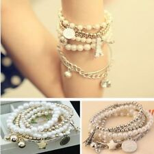 Womens  Star Coin Tower Pearl Charm Multilayer Bracelet UK