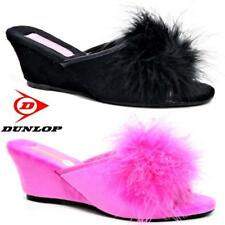 Women Ladies Dunlop Slippers Faux Suede Wedge Pom Pom Fur Wedge Shoes Size