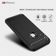 ShockProof Carbon Fiber Silicone TPU Slim Back Case Cover For iPhone X 8 7 6Plus