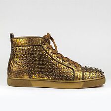100% Authentic NEW BNIB Christian Louboutin Louis Flat Python Gold Spikes