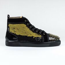 100% Authentic NEW Christian Louboutin Lou Spikes Flat Paill Black/Gold Gliter