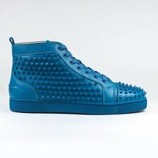 100% Auth Christian Louboutin Louis Flat Calf Spikes Ocean Leather Sneakers