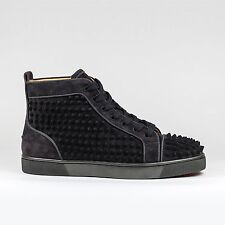 100% Authentic Christian Louboutin Louis Flat Spikes Suede FUSAIN Sneakers BNIB