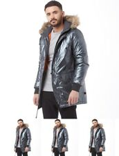FASHION Bellfield Mens Salford Metallic Parka Silver Small Chest 40""