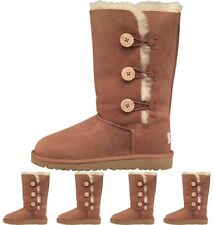 BRAND UGG Girls Bailey Button Triplet Boots Chestnut UK 1 Euro 32