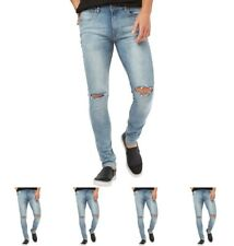 DI MODA Ringspun Mens Apollo Super Skinny Fit Jeans With Rips Light Blue Waist