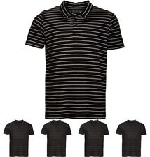 DI MODA Onfire Mens Yarn Dyed Striped Polo Black/Light Grey Marl Small Chest 38""