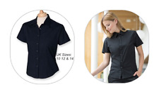 ALL SIZES : Womens Navy Blue Fitted Short Sleeve Stretch Shirt from Henbury BNWT