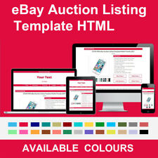 Crimson Red eBay Auction Listing Template HTML Responsive Mobile Friendly 2018