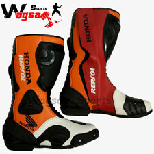 Honda Repsol Motorbike Shoes Racing Protection Track Real Leather Rider Shoes