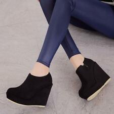 Womens Wedge High Heels Round Toe Ankle Boots Platform Zipper Shoes Pumps Punk T