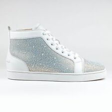 100% Authentic Christian Louboutin Louis Strass Flat Leather White