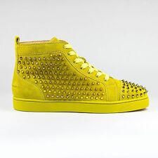 100% Auth Christian Louboutin Louis Flat Spikes Suede Mimosa Sneakers