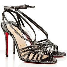 NEW Christian Louboutin BEVERLY 100 Suede Sandals Strappy Black Silver Shoes 39