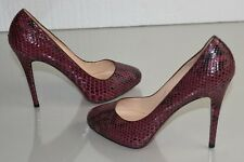 NEW Christian Louboutin DECLIC 120 PYTHON Burgundy Pump HIDDEN PLATFORM Shoes 41