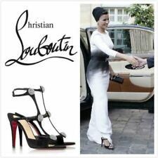 $1395 NEW Christian Louboutin SPARTENVOL STRASS 100 Suede Black Sandals Shoes 38