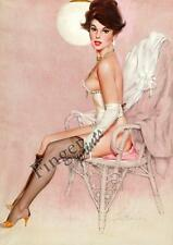 Fritz Willis Brunetta Pinup in Collant Vintage Stampa D'arte - A4 A3 A2 A1