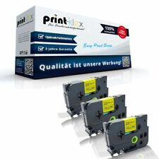 3x Printer Cintas para Brother TZE641 Negro - AMARILLO - Easy estampado Serie