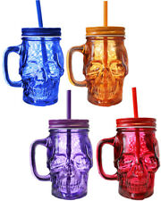 6 X 13CM GLASS SKULL CUPS MUG WITH STRAW HALLOWEEN DRINKING CUP TANKARD 300ML