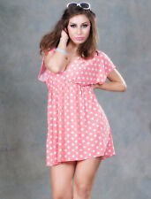 Kaftan V Neck Beach Cover up Pink White Polka Dot Bikini Summer Dress Shirt Top