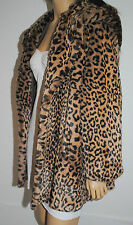 Womens Plush Leopard Print Faux / Fake Fur Hooded Jacket BNWT UK Made Size 12/14