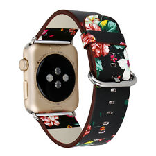 Genuine Leather Flower Print Buckle Band Strap for Apple Watch iWatch 38mm/42mm