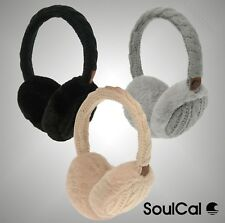 Ladies Branded SoulCal Winter Cable Knit Detai Padded Thaw Earmuffs Headwear