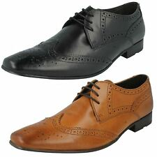 Hombre Base London encerado Cuero Con Cordones Formal Zapatos Oxford Estilo
