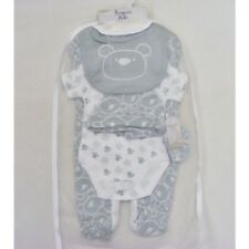 Baby Boy Girl Pale Grey Bear design Layette Gift Set Outfit by Bonjour Bebe