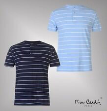 Mens Branded Pierre Cardin Cotton Lightweight Top Stripe Henley T Shirt S-XXL
