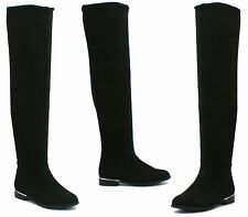 WOMENS LOW HEEL FLAT SEXY SOFT SUEDE OVER THE KNEE HIGH THIGH STRETCH BOOTS SIZE