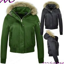 NEW Womens LADIES PARKA WARM JACKET FUR HOOD PADDED WINTER COAT Size 8-16 KHAKI