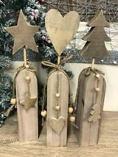 Natural Wood Finish Large Wooden Decoration - Heart Star or Christmas Tree 6841