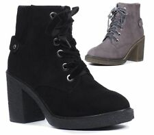 LADIES WOMENS CHUNKY PLATFORM HIGH HEEL LACE UP CHELSEA ANKLE BOOTS SHOES SIZE