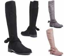 LADIES KNEE HIGH FLAT LOW BLOCK HEEL ZIP FAUX SUEDE ANKLE BOW WOMENS BOOTS SIZE