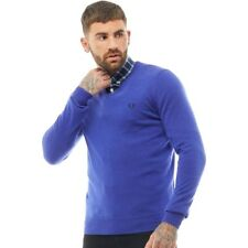 Men's Fred Perry V-Neck Sweater Jumper Tipped Retro Purple 100% Wool RRP£99.99