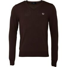 BNWT Men's Fred Perry V-Neck Sweater Jumper Tipped Retro Choco 100% Merino Wool