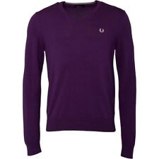 BNWT Men's Fred Perry V-Neck Sweater Jumper Tipped Retro Purple Mulberry