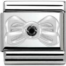 Nomination Italy Genuine Nominations Silver Bow Black CZ Classic Charm Tool