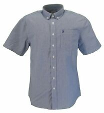 Farah Blue/White Small Check Short Sleeved Cotton Retro Mod Button Down Shirts