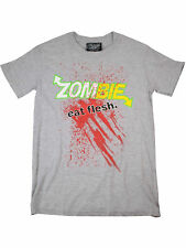 Darkside T-Shirt Zombie Eat Flesh Splatter Horror Blut Halloween Grau #5019