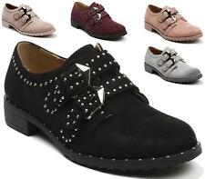 WOMENS FAUX SUEDE LEATHER STUDS BUCKLE STRAP FLAT BROGUE LOAFERS SHOES SIZE 3-8