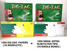 1200 ZIGZAG ROLLING PAPERS & 1200 SWAN MENTHOL EXTRA SLIM FILTER TIPS ORIGINAL