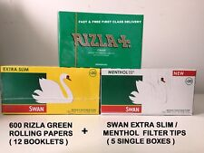 600 RIZLA GREEN, BLUE & ZIG ZAG PAPERS & SWAN MENTHOL EXTRA SLIM FILTER TIPS