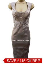 New KAREN MILLEN Satin BNWT £190 Lace Embroidery Evening Pencil Party Dress SALE