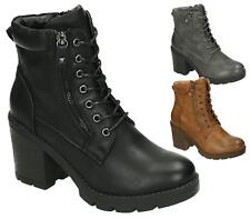 WOMENS BLACK WORKER COMBAT BIKER MILITARY BLOCK HEEL LACE UP ANKLE BOOTS SHOES