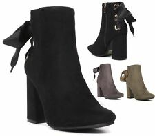 WOMENS HIGH BLOCK HEEL FAUX SUEDE TIE UP BACK ZIP SHORT ANKLE BOOTS SIZE 3-8